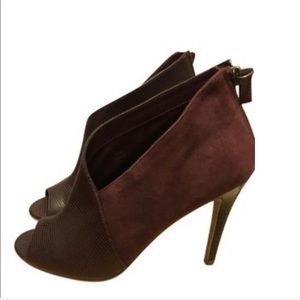 Halogen Peep Toe Bootie in Brown Leather and Suede